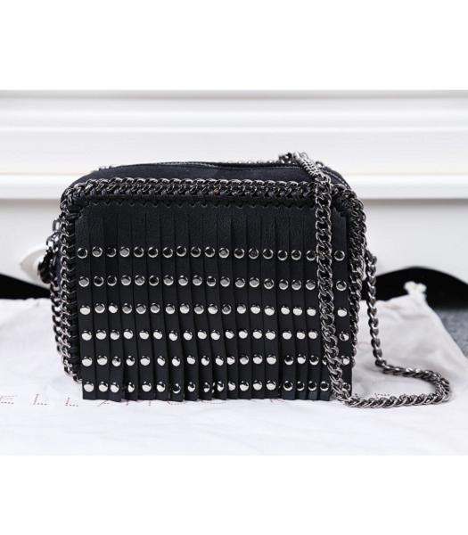 Stella McCartney Rivets Fringed Small Shoulder Bag Black