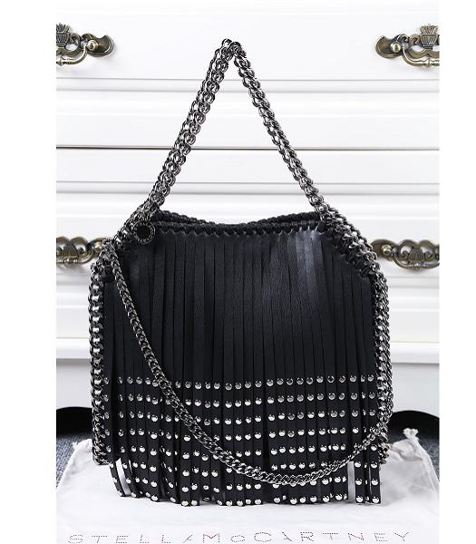 Stella McCartney Rivets Fringed Black Shoulder Bag Silver Chain