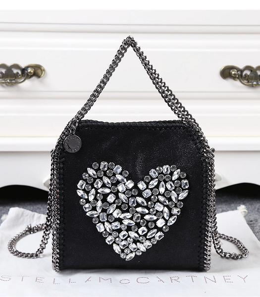 Stella McCartney Falabella Diamonds Hearted Small Shoulder Bag Black