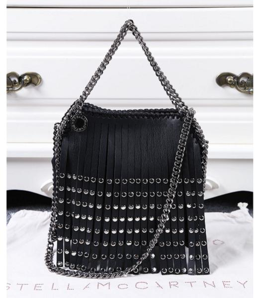Stella McCartney Falabella Rivets Fringed Small Black Bag Silver Chain