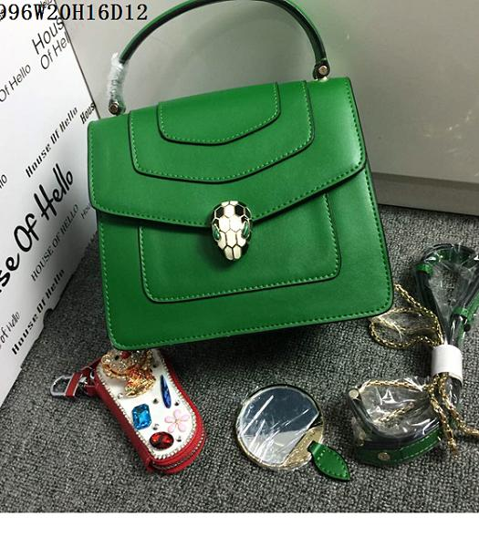 Bvlgari Green Original Leather 20cm Chains Small Bag