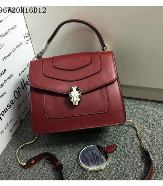 Bvlgari Wine Red Original Leather 20cm Chains Small Bag