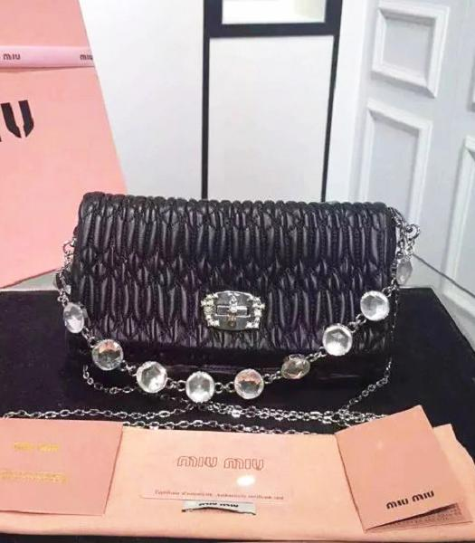 Miu Miu Matelasse Original Leather Diamonds Small Bag Black