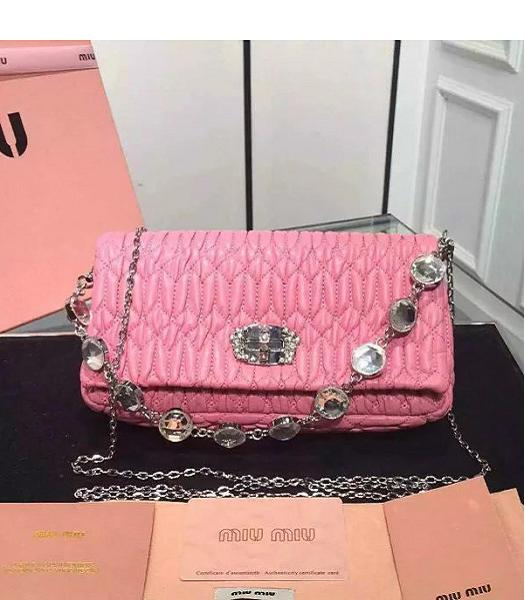 Miu Miu Matelasse Original Leather Diamonds Small Bag Pink