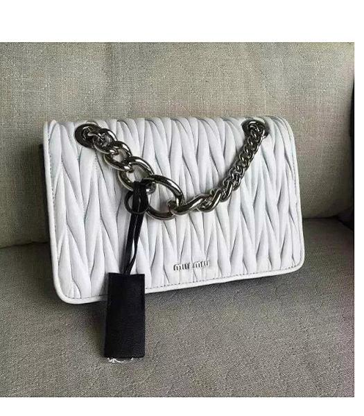 Miu Miu Matelasse White Original Leather Silver Chains Bag