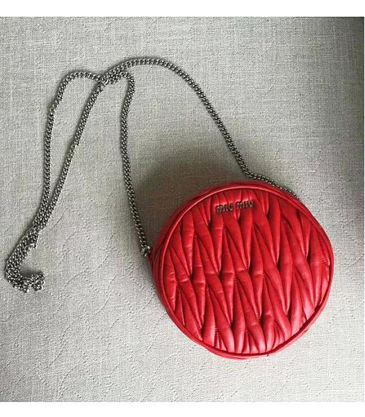 Miu Miu Matelasse Red Original Leather Small Chains Bag