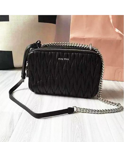 Miu Miu Matelasse Black Original Leather Chains Bag