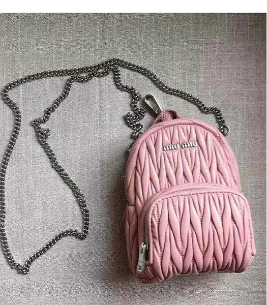 Miu Miu Matelasse Pink Original Leather Small Chains Backpack