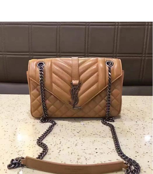 YSL Envelop Satchel Beige Leather Quilted Chains Bag