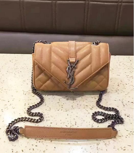 YSL Envelop Satchel Beige Leather Quilted Chains Mini Bag