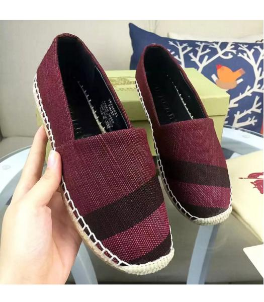 Burberry New Style Checks Good SewingFisherman Shoes Wine Red