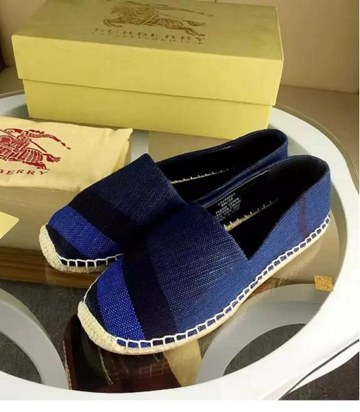 Burberry New Style Checks Good SewingFisherman Shoes Dark Blue