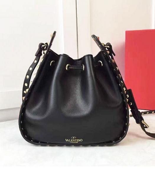 Valentino Black Leather Golden Rockstud Small Bucket Bag