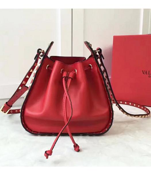 Valentino Red Leather Golden Rockstud Small Bucket Bag
