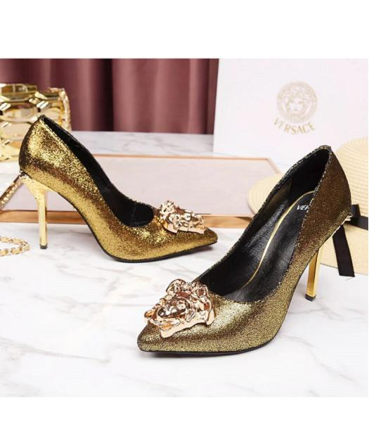 Versace Gold New Style Calfskin Leather High Heels