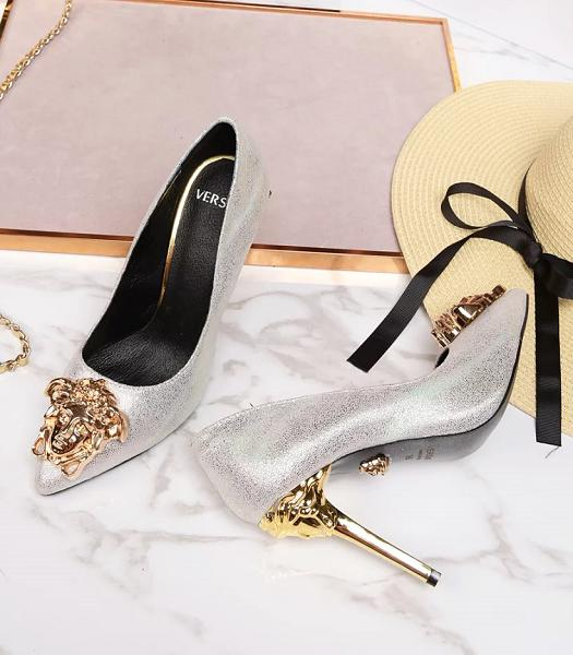 Versace Silver New Style Calfskin Leather High Heels
