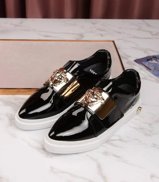 Versace Black New Style Patent Leather Casual Shoes