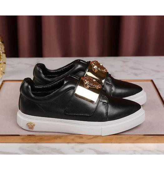 Versace Black New Style Calfskin Leather Casual Shoes