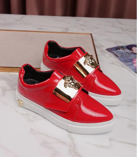 Versace Red New Style Patent Leather Casual Shoes