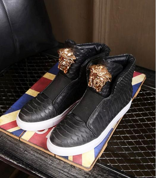 Versace Black Lovers Calfskin Leather Casual Shoes