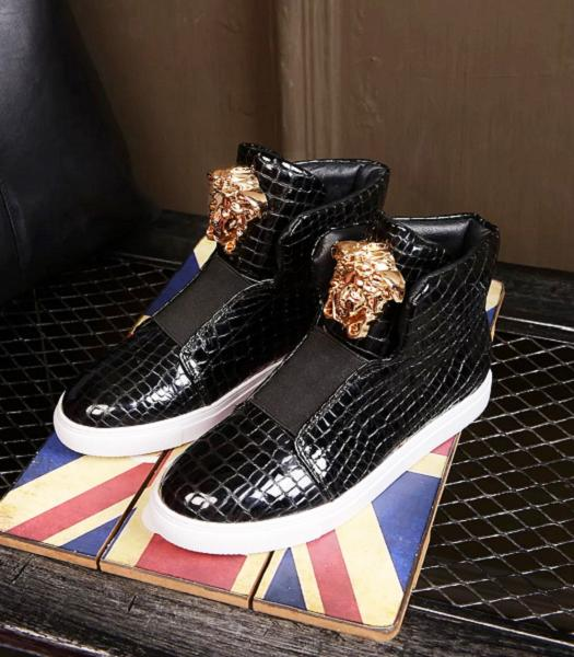 Versace Black Lovers Patent Leather Casual Shoes