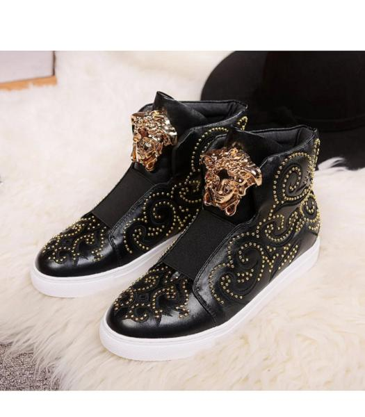 Versace Black Lovers Calfskin Leather Rivet High-top Casual Shoes