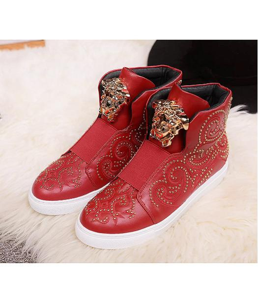 Versace Red Lovers Calfskin Leather Rivet High-top Casual Shoes