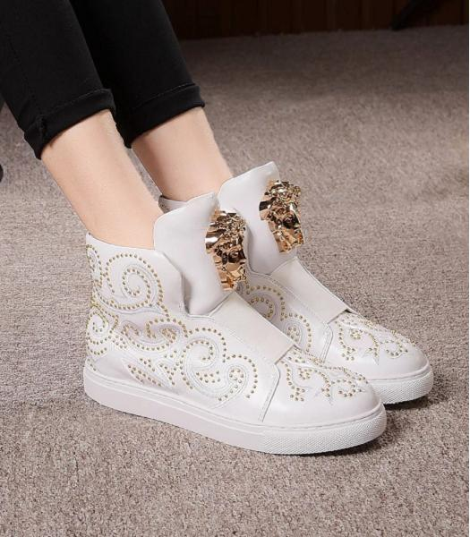 Versace White Lovers Calfskin Leather Rivet High-top Casual Shoes