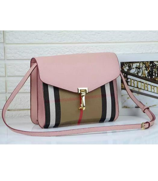 Burberry Canvas With Grainy Leather Shoulder Bag Pink