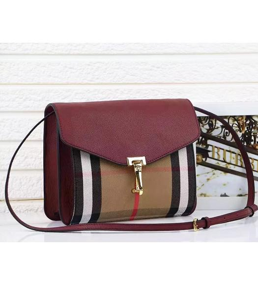 Burberry Canvas With Grainy Leather Shoulder Bag Jujube Red