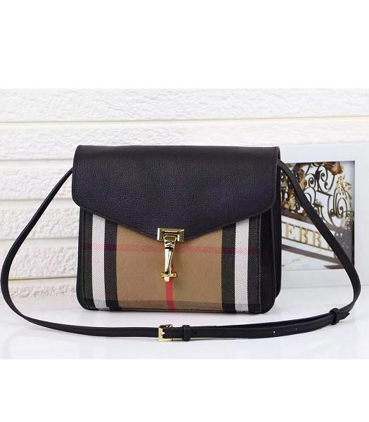 Burberry Canvas With Grainy Leather Shoulder Bag Black