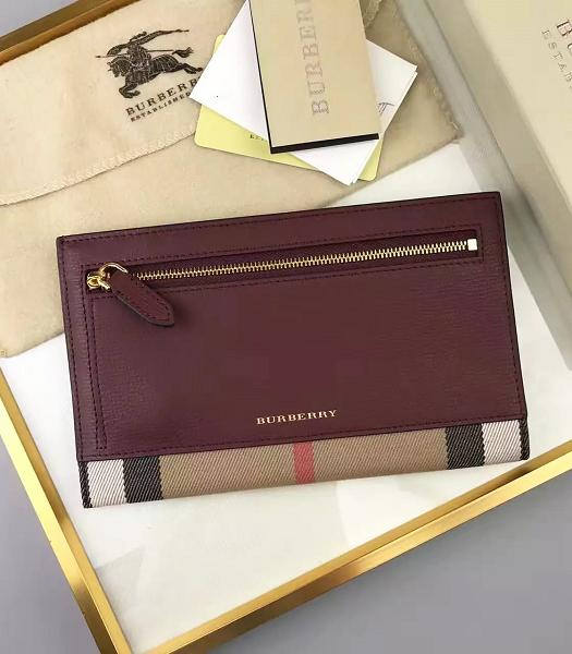 Burberry Canvas With Calfskin Leather Wallet Jujube Red