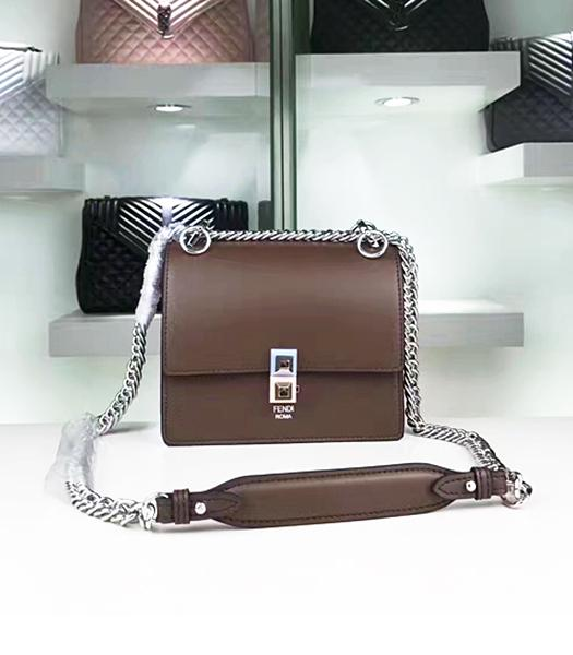 Fendi Latest Coffee Leather Chains Shoulder Bag