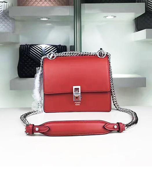 Fendi Latest Red Leather Chains Shoulder Bag