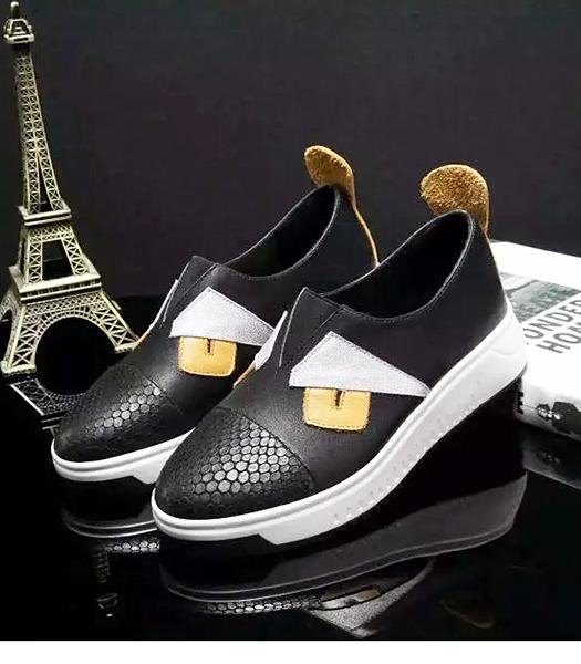 Fendi Black New Style Little Monsters Casual Shoes