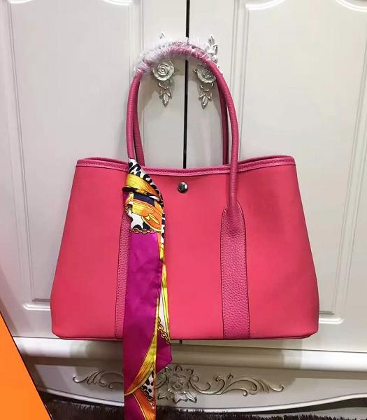 Hermes 36cm Garden Party Tote Bag With Rose Red Leather