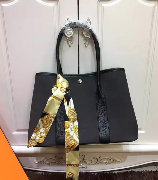 Hermes 36cm Garden Party Tote Bag With Black Leather