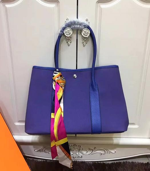 Hermes 36cm Garden Party Tote Bag With Blue Leather