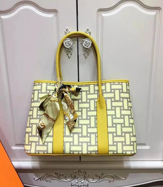 Hermes 36cm Garden Party Tote Bag With Yellow Leather