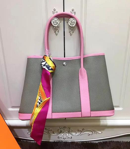 Hermes 36cm Litchi Veins Leather Garden Party Tote Bag Grey