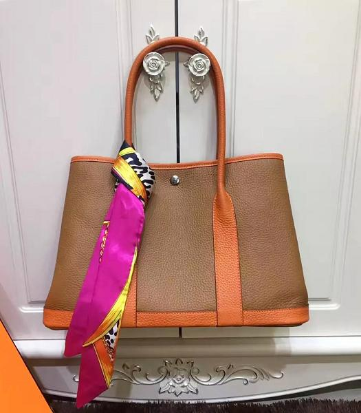 Hermes 36cm Litchi Veins Leather Garden Party Tote Bag Earth Yellow