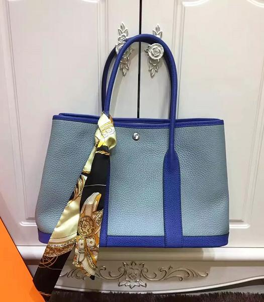 Hermes 36cm Litchi Veins Leather Garden Party Tote Bag Blue