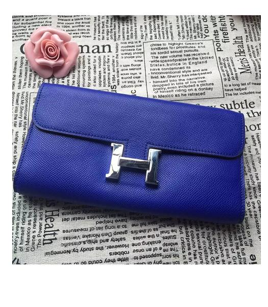 Hermes Constance Original Palm Print Wallet Electric Blue