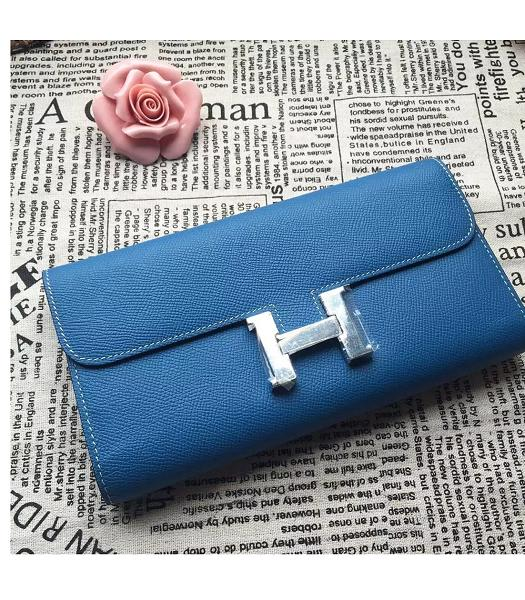 Hermes Constance Original Palm Print Wallet Blue