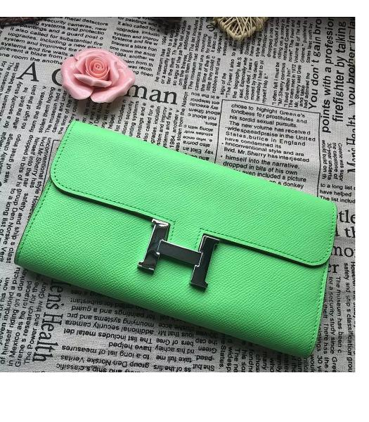 Hermes Constance Original Palm Print Wallet Light Green
