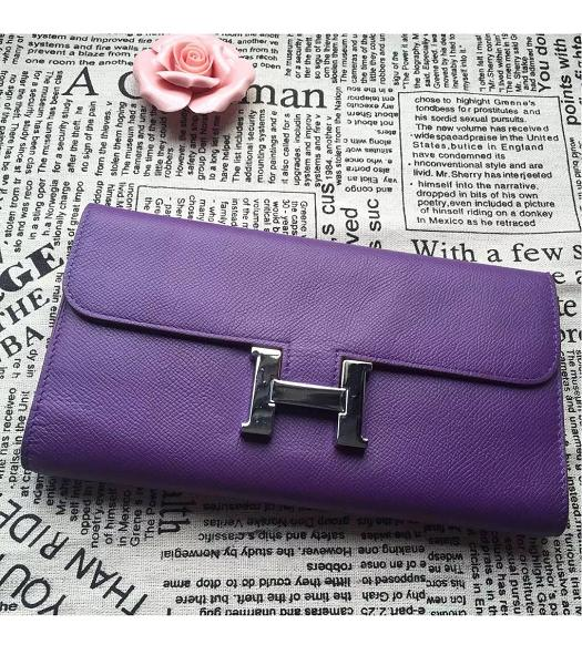 Hermes Constance Original Palm Print Wallet Purple