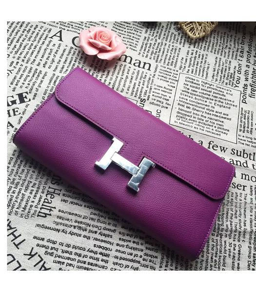 Hermes Constance Original Palm Print Wallet Grapes Purple