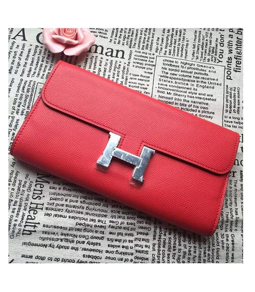 Hermes Constance Original Palm Print Wallet Red