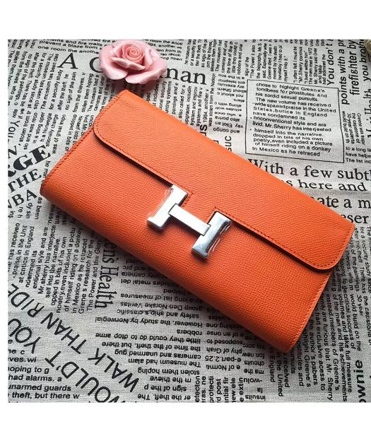 Hermes Constance Original Palm Print Wallet Orange