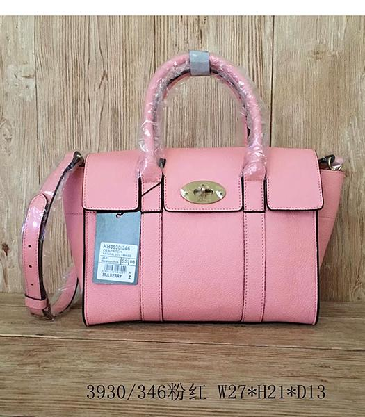 Mulberry Litchi Veins Pink Leather Small Handle Bag